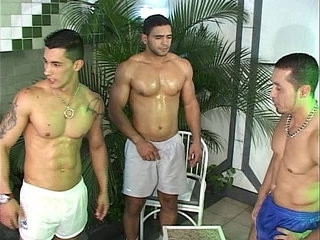 Gay threesome in the pool | gays tube   threesome