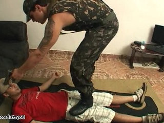 boy step boy soldado feet trampling domination | boys   domination   feet top