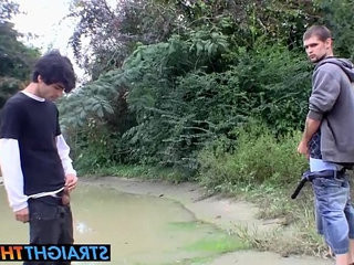 Horny thugs Devin and Nolan stroke their meats outdoors   horny  outdoors  stroking
