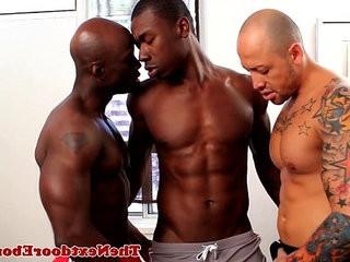 Interracial threeway with spitroasted guy | gays tube  interracial  threesome  threeway