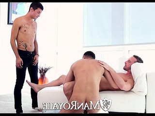 HD ManRoyale Three guys shove hard big cock down their throats | big porn   cocks   hardcore   threesome