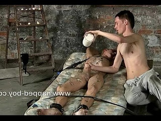 Max Brown is tied gets hot wax poured on him | bondage   getting   tight movie