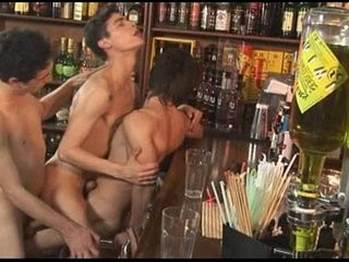 Horny Gay Threesome At The Bar | gays tube   horny   hunks best   threesome